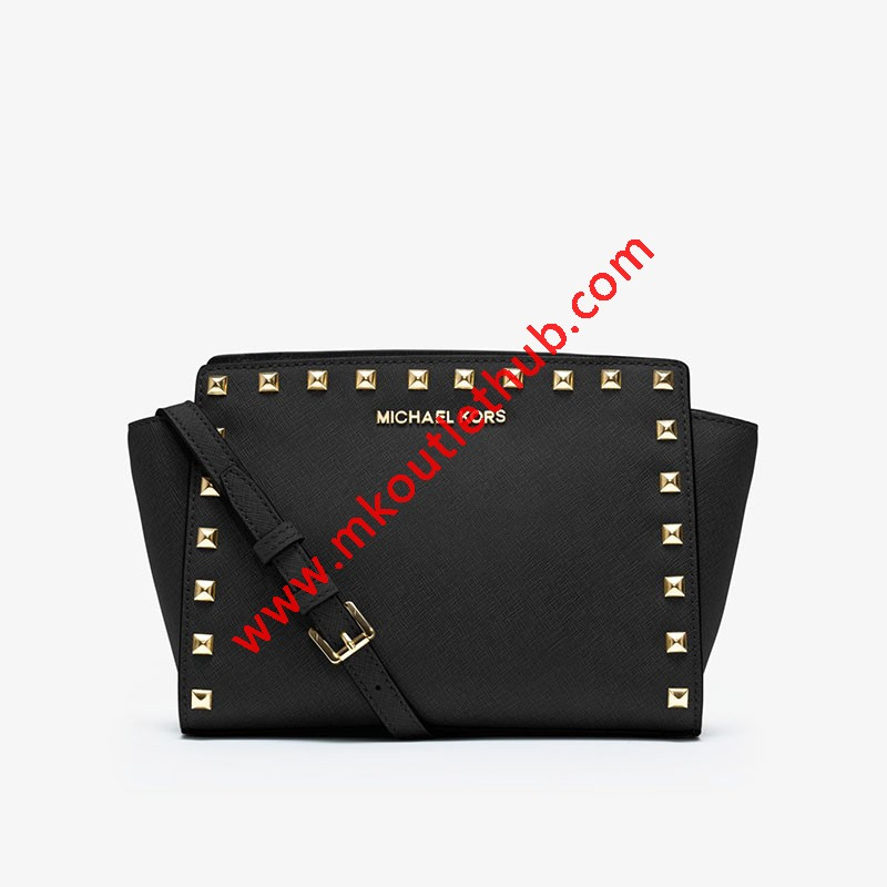 MICHAEL Michael Kors Selma Medium Studded Saffiano Leather Messenger Black
