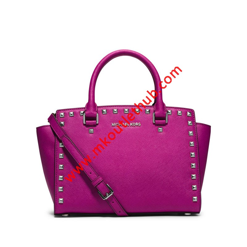 MICHAEL Michael Kors Selma Studded Saffiano Leather Satchel Rose