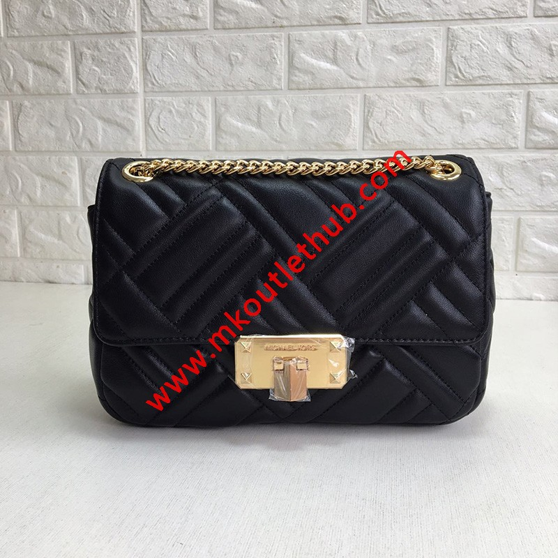 MICHAEL Michael Kors Sloan Large Quilted-Leather Shoulder Bag Black