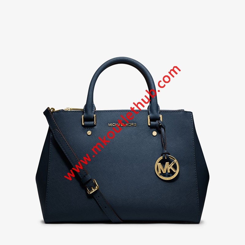 MICHAEL Michael Kors Sutton Medium Saffiano Leather Satchel Navy Blue