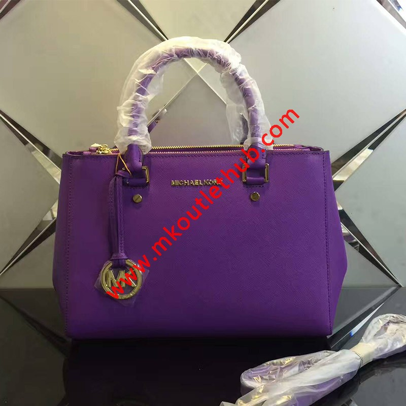 MICHAEL Michael Kors Sutton Medium Saffiano Leather Satchel Purple