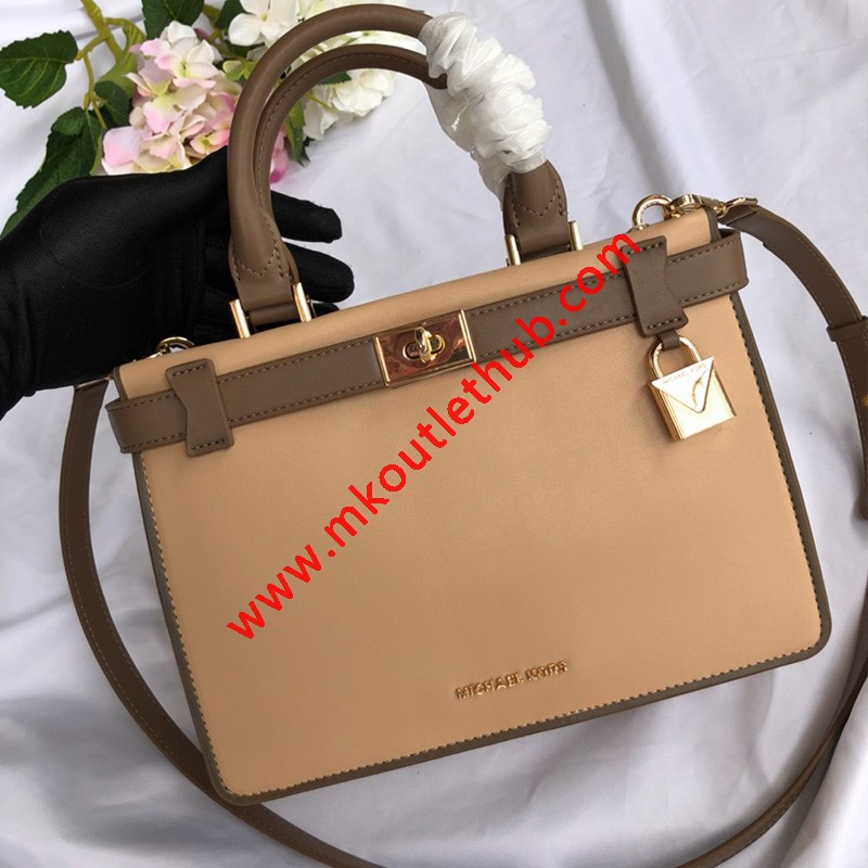 MICHAEL Michael Kors Tatiana Small Leather Satchel Apricot