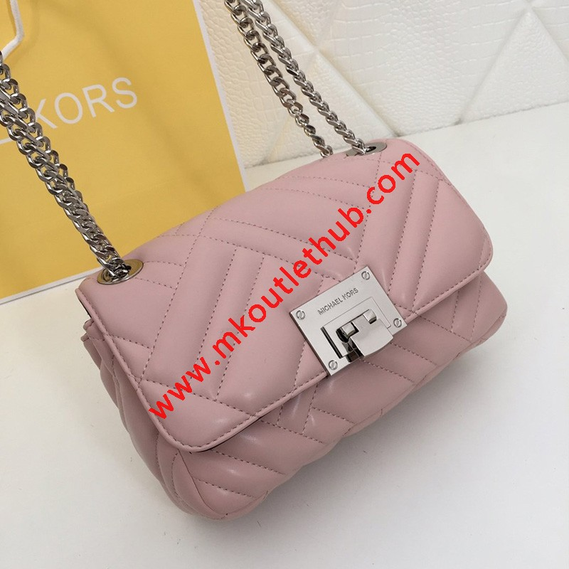 MICHAEL Michael Kors Vivianne Medium Quilted Leather Shoulder Bag Pink