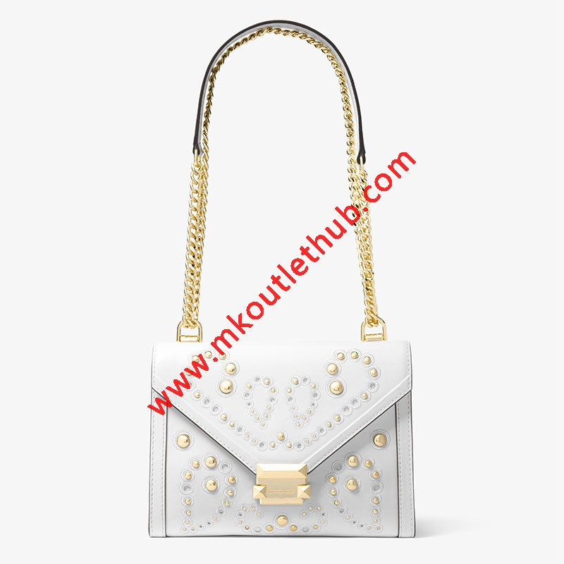 MICHAEL Michael Kors Whitney Large Embellished Leather Convertible Shoulder Bag White