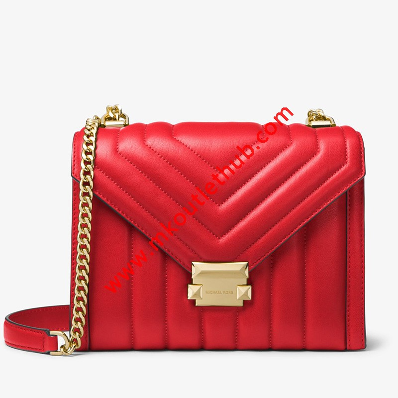 MICHAEL Michael Kors Whitney Quilted Leather Convertible Shoulder Bag Red