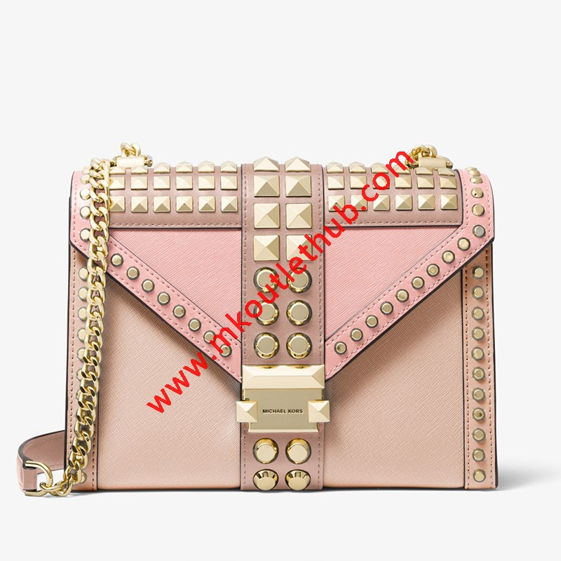 MICHAEL Michael Kors Whitney Large Studded Saffiano Leather Convertible Shoulder Bag Pink