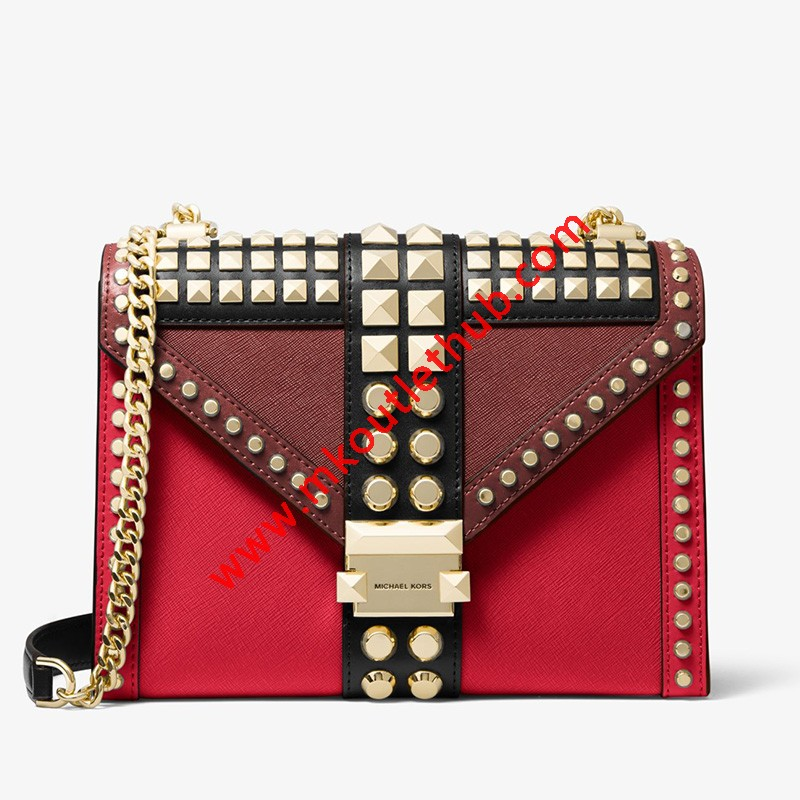MICHAEL Michael Kors Whitney Large Studded Saffiano Leather Convertible Shoulder Bag Red