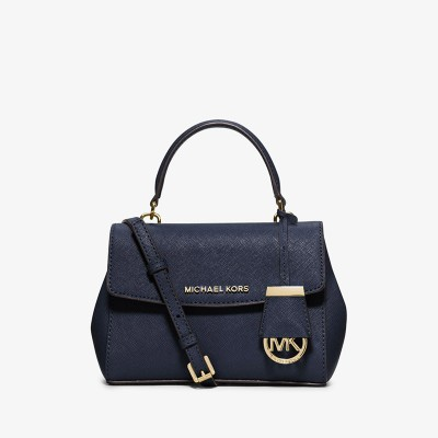 MICHAEL Michael Kors Ava Extra-Small Saffiano Leather Crossbody Navy Blue