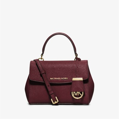 MICHAEL Michael Kors Ava Small Saffiano Leather Satchel Burgundy