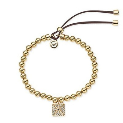 Cheap Michael Kors Gold-Tone Beads Pyramid Charm Adjustable Bracelet