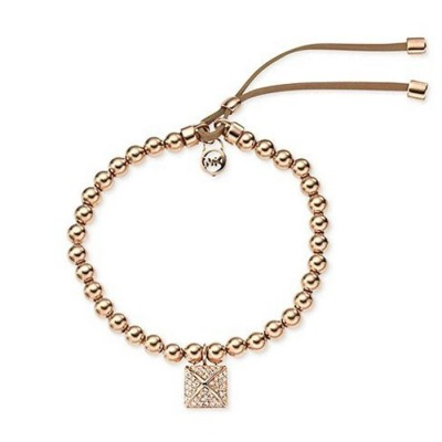 Cheap Michael Kors Rose Gold-Tone Beads Pyramid Charm Adjustable Bracelet