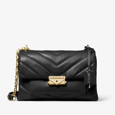MICHAEL Michael Kors Cece Medium Quilted Leather Convertible Shoulder Bag Black