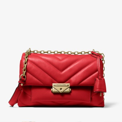 MICHAEL Michael Kors Cece Medium Quilted Leather Convertible Shoulder Bag Red