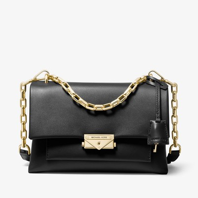 MICHAEL Michael Kors Cece Medium Leather Shoulder Bag Black