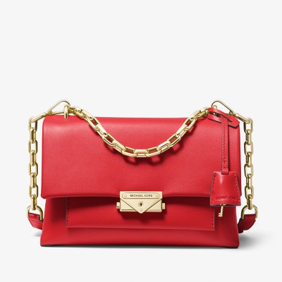 MICHAEL Michael Kors Cece Medium Leather Shoulder Bag Red