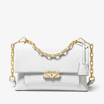 MICHAEL Michael Kors Cece Medium Leather Shoulder Bag White