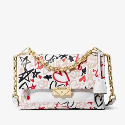 MICHAEL Michael Kors Cece Medium Qixi Graffiti Shoulder Bag White
