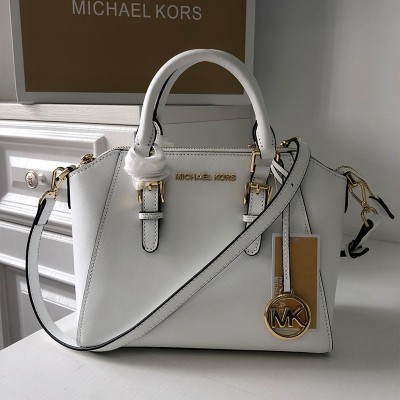 MICHAEL Michael Kors Ciara Small Saffiano Leather Satchel White