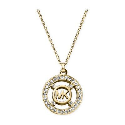 Cheap Michael kors Gold-Tone Crystal Disc Logo Pendant Necklace