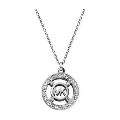 Cheap Michael kors Silver-Tone Crystal Disc Logo Pendant Necklace