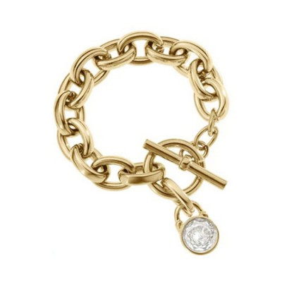 Cheap Michael Kors Gold-Tone Crystal Padlock Charm Toggle Bracelet