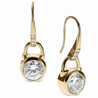 Cheap Michael Kors Gold-Tone Crystal Padlock Drop Earrings