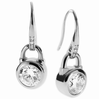 Cheap Michael Kors Silver-Tone Crystal Padlock Drop Earrings