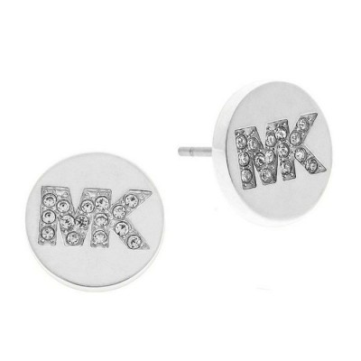 Cheap Michael Kors Silver-Tone Crystal MK Logo Stud Earrings