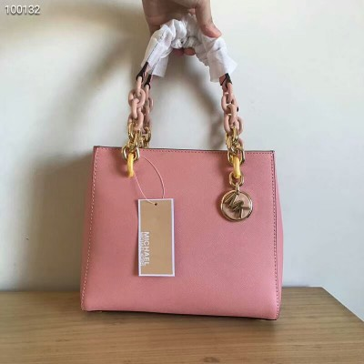 MICHAEL Michael Kors Cynthia Small Leather Satchel Pink