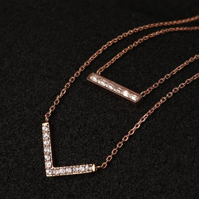 Cheap Michael Kors Rose Gold-Tone Diamond V-Shaped Pendants Necklace