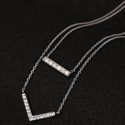 Cheap Michael Kors Silver-Tone Diamond V-Shaped Pendants Necklace