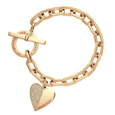 Cheap Michael Kors Gold-Tone Heart Charm Toggle Bracelet