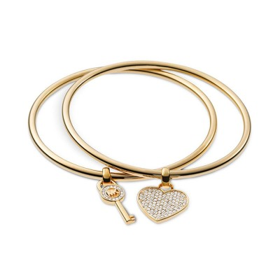 Cheap Michael Kors Gold-Tone Heart & Key Charm Bangle Bracelet