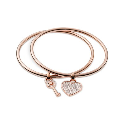 Cheap Michael Kors Rose Gold-Tone Heart & Key Charm Bangle Bracelet