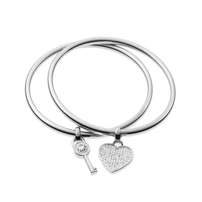 Cheap Michael Kors Silver-Tone Heart & Key Charm Bangle Bracelet