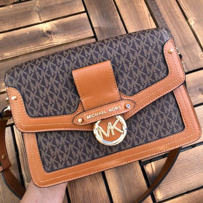 MICHAEL Michael Kors Jessie Medium Logo And Leather Shoulder Bag Brown