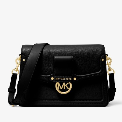 MICHAEL Michael Kors Jessie Medium Pebbled Leather Shoulder Bag Black