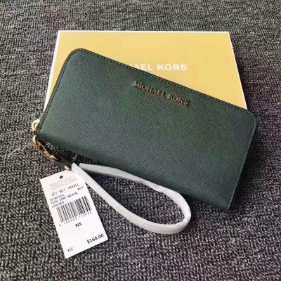 MICHAEL Michael Kors Jet Set Saffiano Leather Continental Wallet Green