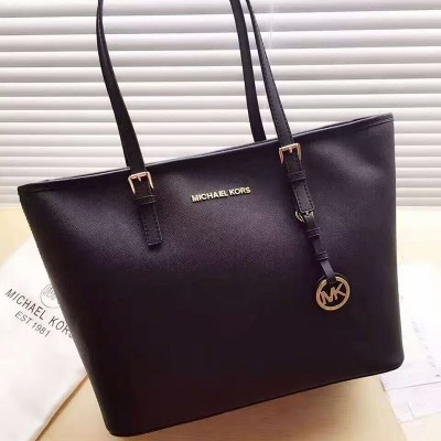 MICHAEL Michael Kors Jet Set Travel Saffiano Leather Top-Zip Tote Black