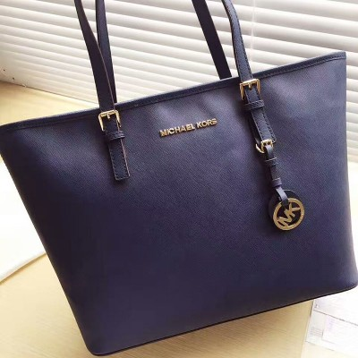 MICHAEL Michael Kors Jet Set Travel Saffiano Leather Top-Zip Tote Navy Blue
