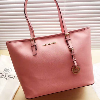 MICHAEL Michael Kors Jet Set Travel Saffiano Leather Top-Zip Tote Pink
