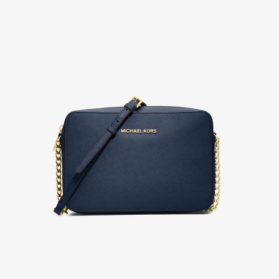 MICHAEL Michael Kors Jet Set Large Saffiano Leather Crossbody Navy Blue