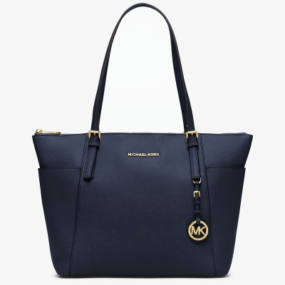 MICHAEL Michael Kors Jet Set Large Top-Zip Leather Tote Navy Blue