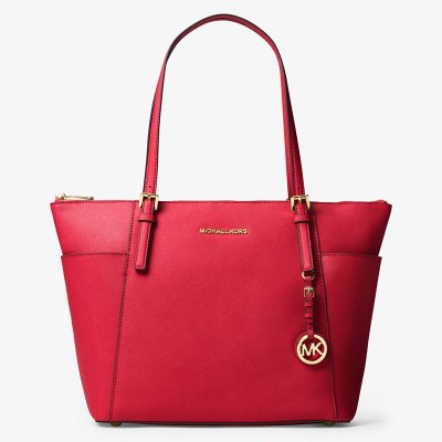 MICHAEL Michael Kors Jet Set Large Top-Zip Leather Tote Red