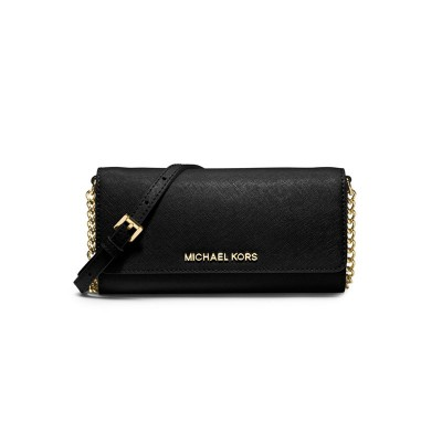MICHAEL Michael Kors Jet Set Travel Saffiano Leather Chain Wallet Black
