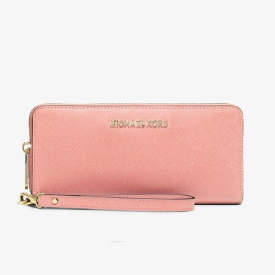MICHAEL Michael Kors Jet Set Travel Leather Continental Wristlet Pink