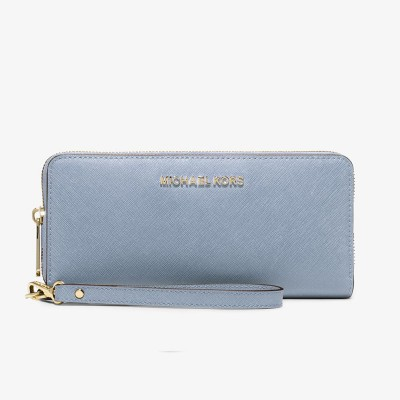MICHAEL Michael Kors Jet Set Travel Leather Continental Wristlet Sky Blue