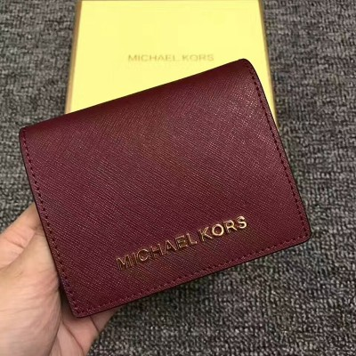 MICHAEL Michael Kors Jet Set Travel Flap Leather Card Holder Burgundy