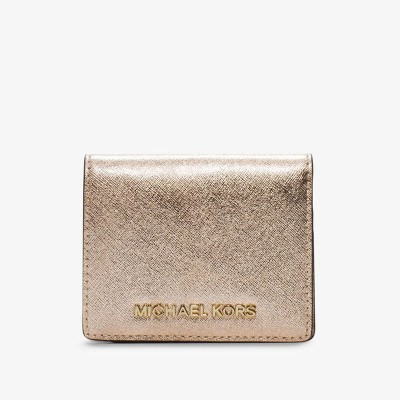 MICHAEL Michael Kors Jet Set Travel Flap Leather Card Holder Gold