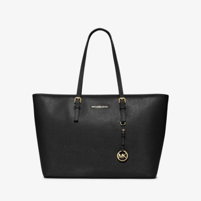 MICHAEL Michael Kors Jet Set Travel Large Saffiano Leather Top-Zip Tote Black
